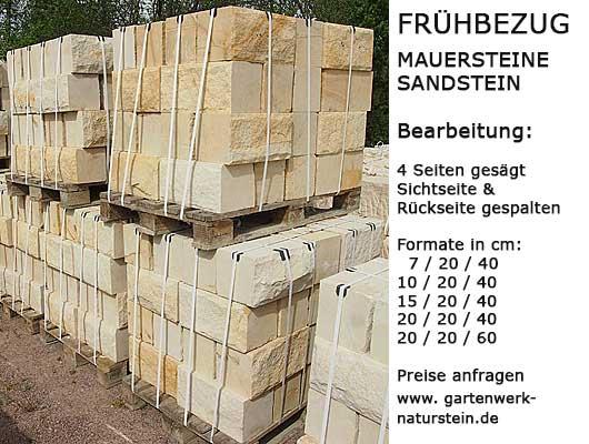 Schlossberg Maueresteine aus Sandstein, Lager und Köpe gesägt, Sichtseite und Rückseite gespalten